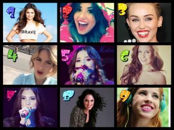 1.Selena Gomez 2.Demi Lovato 3.Miley Cyrus 4.Tini Stoessel 5.Paulina Goto 6.Natasha Dupeyrón 7.Macarena Achaga 8.Lodovica Comello 9.Candelaria Molfese